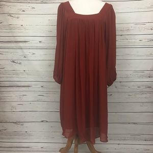 Massimo Dutti Chiffon Dress Long Sleeve Size Med